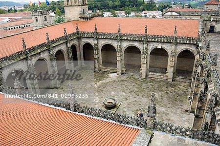 Cloître du toit de la cathédrale de Santiago, patrimoine mondial UNESCO, Saint Jacques de Compostelle, Galice, Espagne, Europe