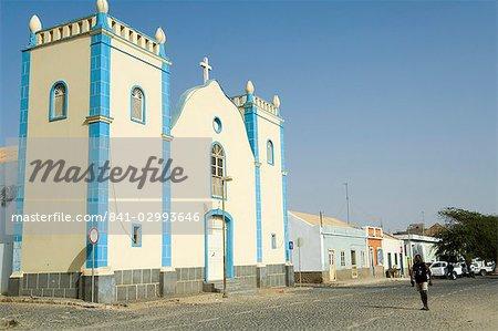 Church in main square, Sal Rei, Boa Vista, Cape Verde Islands, Africa