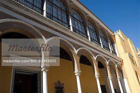 Détail de la construction dans le Patio de la Monteria, Real Alcazar, Santa Cruz district, Séville, Andalousie (Andalucia), Espagne, Europe