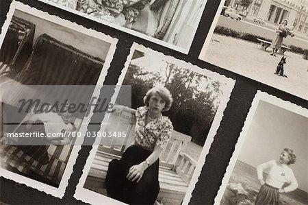 Close-Up of Photographs in Photo Album