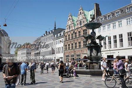 Stroeget Shopping District, Copenhague, North Sealand, Danemark