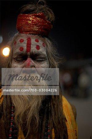 Close-up of Sadhu, Varanasi, Uttar Pradesh, India