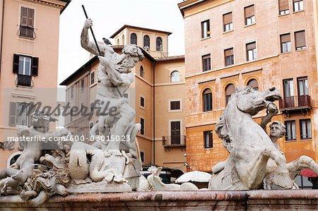 Neptune Fountain, Piazza Navona, Rome, Lazio, Italie