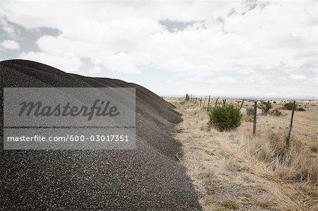 Tas de gravier de clôture, Texas, USA