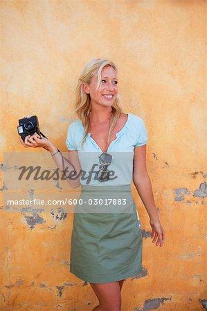 Photographe avec Vintage Camera, Punta Burros, Nayarit, Mexique