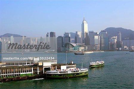 Surplombant la ligne d'horizon de Kowloon, Hong Kong Wanchai