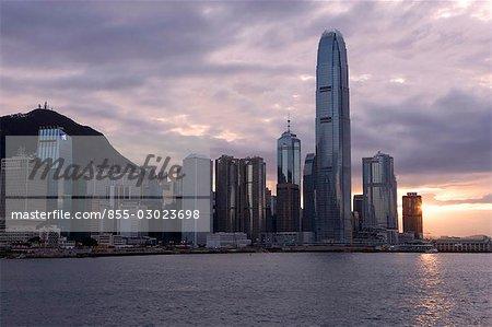 Sunset over the Hong Kong skyline