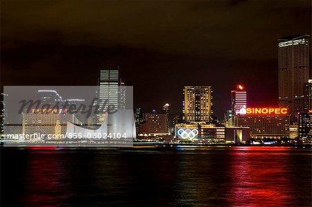 Skyline de Tsim Sha Tsui, Hong Kong la nuit