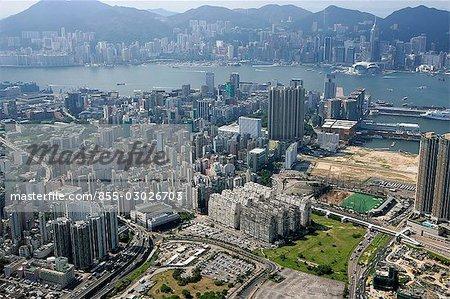 Vue aérienne sur Jordan, Kowloon, Hong Kong