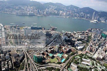 Aerial view over Hung Hom & Tsim Sha Tsui East,Kowloon,Hong Kong