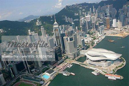 Vue aérienne de Wanchai, Hong Kong