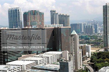Aerial view over Tsim Sha Tsui,Hong Kong