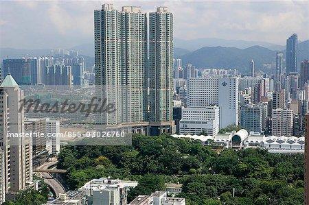 Aerial view over Jordan,Hong Kong