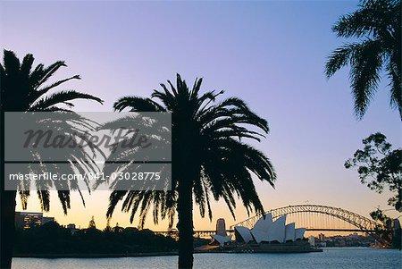 Sydney Opera House and Harbour Bridge at dusk, Sydney, New South Wales, Australia
