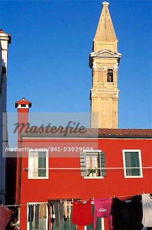Leaning campanile of San Martino church, Burano, Venice, Veneto, Italy, Europe