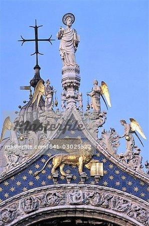 Détail de la basilique Saint-Marc, Piazza San Marco (place Saint-Marc), Venise, Vénétie, Italie, Europe