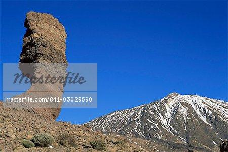 Le Teide et Los Roques, Parc National du Teide, Tenerife, îles Canaries, Espagne, Europe