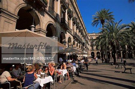 Café de la place, Placa Reial, Barcelone, Catalogne, Espagne, Europe