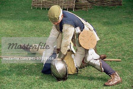 Nachstellung des mittelalterlichen Kampfes, Kriege der Rosen Gesellschaft, Worcester, England, Vereinigtes Königreich, Europa