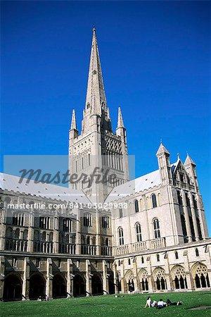 Cathédrale de Norwich de cloîtres, Norwich, Norfolk, Angleterre, Royaume-Uni, Europe