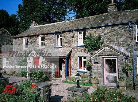 Typical slate cottages, Glenridding, Lake District, Cumbria, England, United Kingdom, Europe