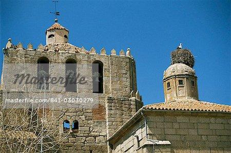 Nid de cigogne, Piedrahita, Avila, Castille León, Espagne, Europe