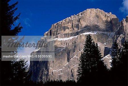 Mountains in the Passo Sella near ski resort of Val Gardena, Val di Fassa, Dolomites, Trentino, Italy, Europe