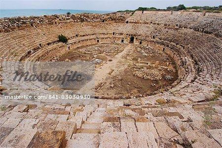 Amphitheatre, Roman ruins, Leptis Magna, UNESCO World Heritage Site, Libya, North Africa, Africa
