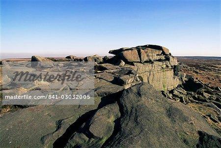 Fels-Muster, Stanage Edge, Peak-District-Nationalpark, Derbyshire, England, Vereinigtes Königreich, Europa