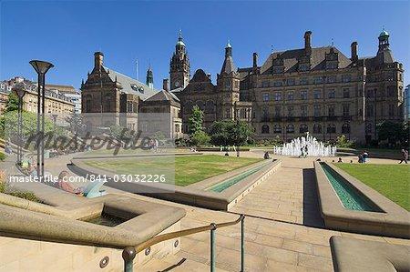 Peace gardens et hôtel de ville, Sheffield, Yorkshire, Angleterre, Royaume-Uni, Europe