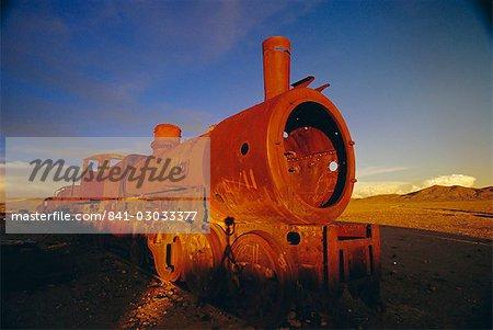 Rusting steam locomotive, 'Cementerios de los trenes', Uyuni, Bolivia, South America