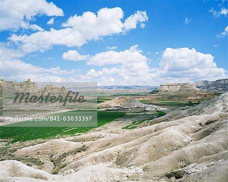 Champs dans un paysage rocheux, près d'Avanos, Cappadoce, Anatolie, Eurasie
