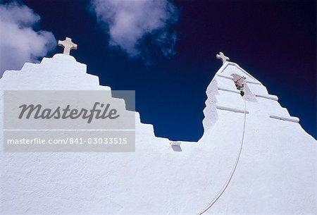Croisements et toit de chrétien église de Panagia Paraportiani, Mykonos, Iles Cyclades, Grèce, Méditerranée, Europe