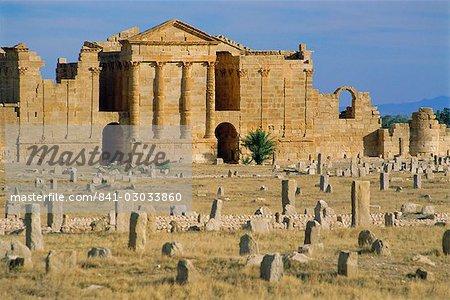 La ville romaine de Sbeitla, Capitole et trois Temples de Jupiter, Minerve et Junon, Tunisie, Afrique du Nord