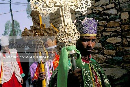 Palm Sunday procession,Axoum (Axum) (Aksum),Tigre region,Ethiopia,Africa