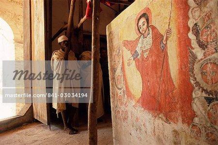Wall painting in interior,Christian church of Narga Selassie,island of Dek,Lake Tana,Gondar region,Ethiopia,Africa