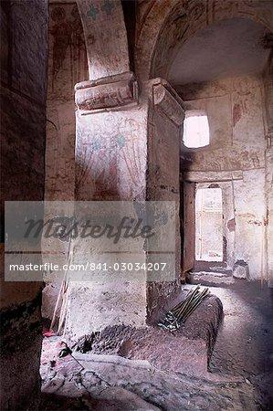 Semi monolithic,rock hewn architecture,Gannata Mariam Christian church,Wollo region,Ethiopia,Africa