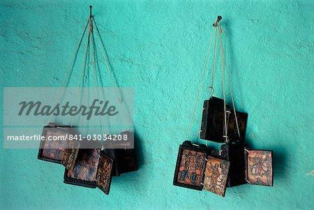 Painted Christian items,Axoum (Axum) (Aksum),Tigre region,Ethiopia,Africa