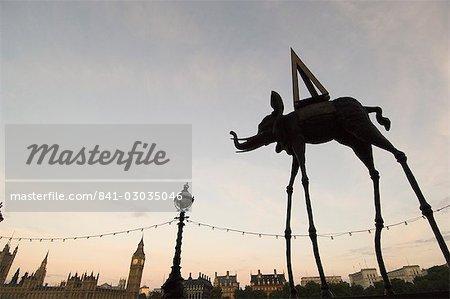 Dali elephant sculpture silhouette with Westminster skyline beyond,London,England,United Kingdom,Europe