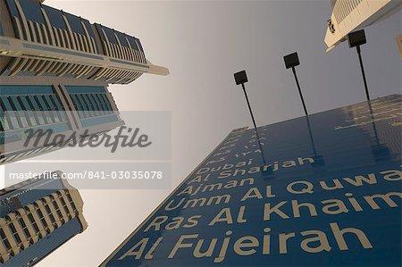 Panneau de signalisation, Dubaï, Émirats Arabes Unis