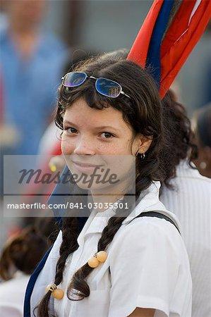Jeune fille à une protestation, la Havane, Cuba, Antilles, l'Amérique centrale