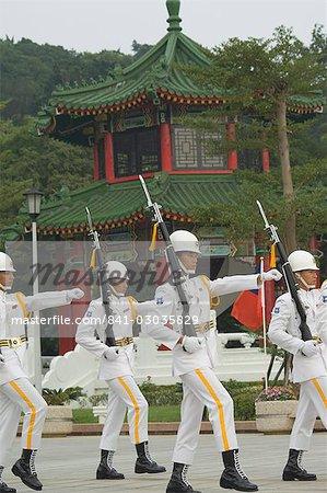 Changement des gardes cérémonie, sanctuaire des Martyrs, ville de Taipei, Taiwan, Asie