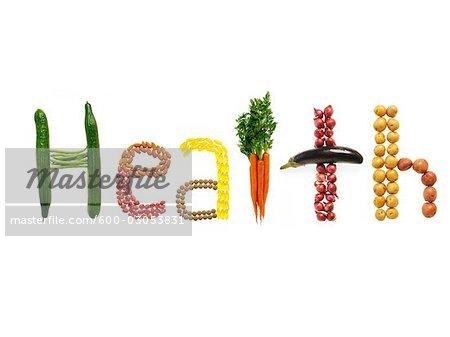Variété d'aliments, la santé mot d'orthographe