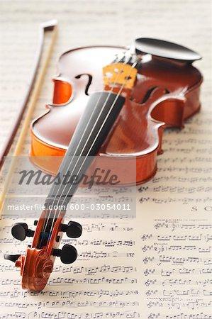 Geige auf Noten