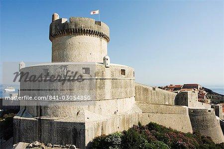 Vieille ville Fort Minceta sur les murs de la ville, Dubrovnik, patrimoine mondial de l'UNESCO, Dalmatie, Croatie, Europe