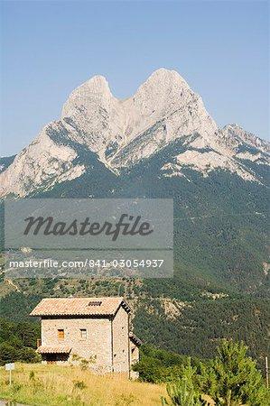 Stone house below Pedraforca (Stone Fork) mountain, 2497m, Serra del Cadi mountain range, Catalunya, Spain, Europe