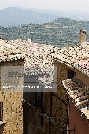 Maisons de la vieille ville, Ujué, Navarre, pays basque, Espagne, Europe