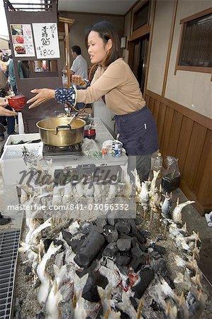 Barbequed fish stand, Takayama, Gifu prefecture, Honshu, Japan, Asia