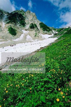 Hikers en route to Mt. Hakuba Glacier, Northern Alps, Japan