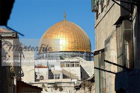 Dôme du rocher, Haram ash-Sharif (Mont du Temple), vieille ville fortifiée, Jérusalem, Israël, Moyen-Orient